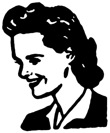 version: A black and white version of a vintage portrait illustration