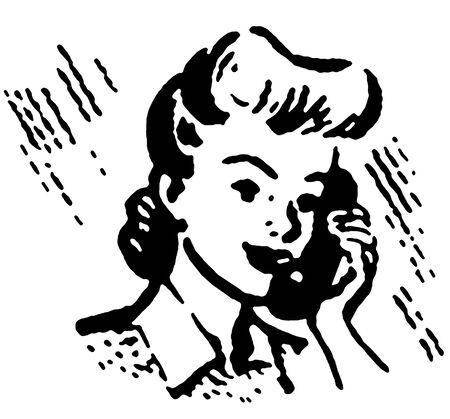 conversing: A black and white version of a vintage portrait illustration