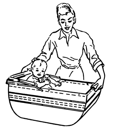 bassinet: A black and white version of a vintage style illustration of a woman and baby