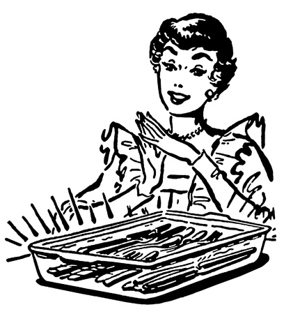 A black and white version of a vintage style illustration of a woman with a baking dish fresh from the oven illustration