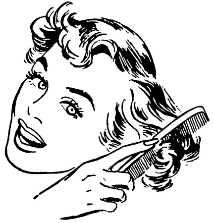 comb hair: A black and white version of a vintage style portrait of a woman combing her hair Stock Photo