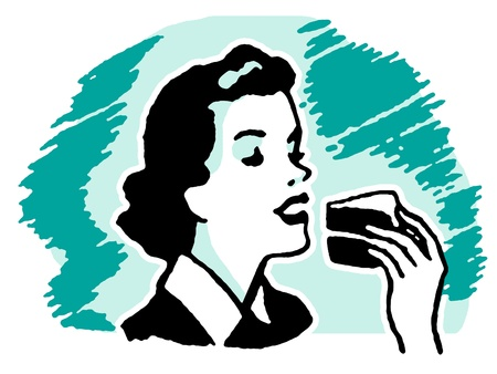 indulgent: A vintage style portrait of a woman eating cake Stock Photo