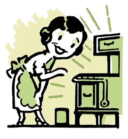 stereotypes: A cartoon vintage style portrait of a woman baking Stock Photo