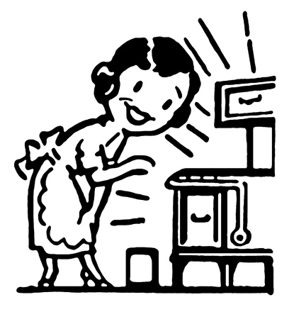 A black and white version of a cartoon vintage style portrait of a woman baking photo