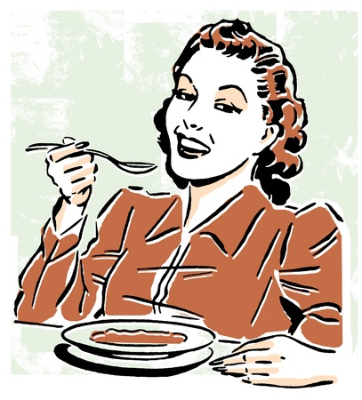 cheerfulness: A vintage style portrait of a woman eating Stock Photo