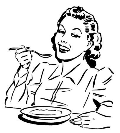 joyfulness: A black and white version of a vintage style portrait of a woman eating