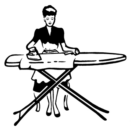 retro woman: A vintage style portrait of a woman ironing