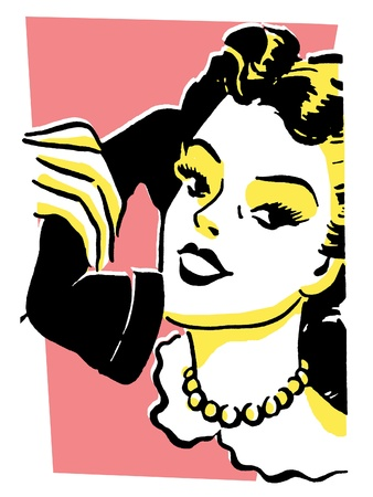 listened: A vintage style portrait of a woman talking on a telephone Stock Photo