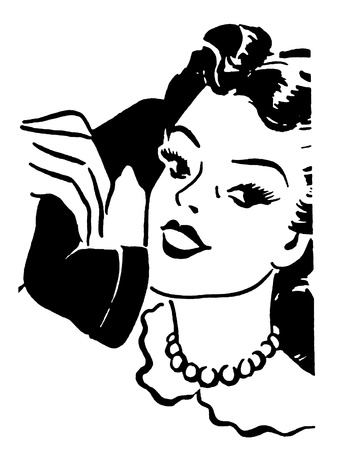 woman on phone: A black and white version of a vintage style portrait of a woman talking on a telephone