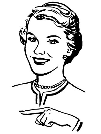 A black and white version of a vintage style portrait of a woman Standard-Bild