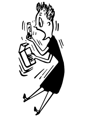 A black and white version of a cartoon style image of a very surprised lady Stock fotó