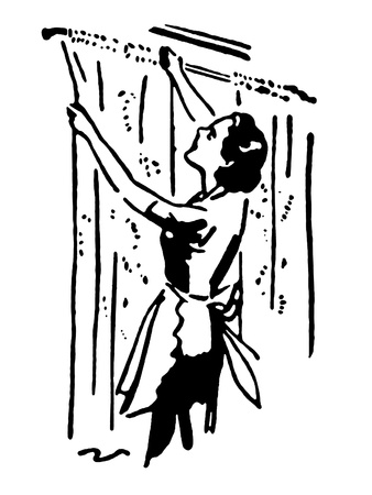 hanging woman: A black and white version of a vintage style portrait of a woman hanging curtains