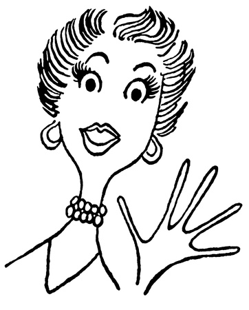 wave hello: A black and white version of a vintage cartoon style image of a surprised lady
