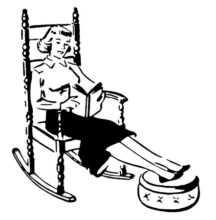 delighted: A black and white version of a vintage style image of a woman relaxing with a book Stock Photo