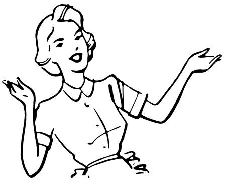 estereotipo: Una versi�n en blanco y negro de un retrato del estilo de la vendimia de una mujer