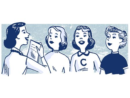 talks: A vintage style illustration of a group of women