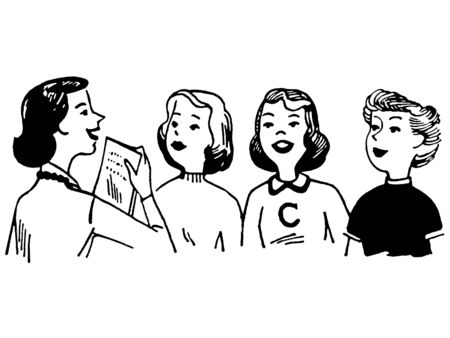 listened: A black and white version of a vintage style illustration of a group of women