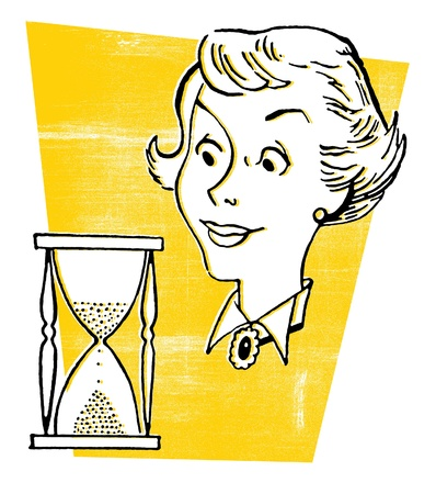A vintage style illustration of a woman and an hour glass Stock Illustration - 15209428