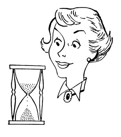 A black and white version of a vintage style illustration of a woman and an hour glass illustration