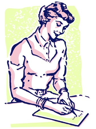 A vintage style portrait of a woman writing a note