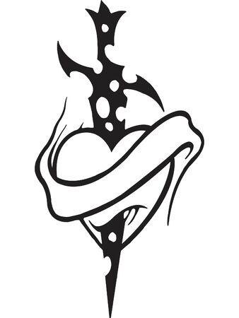 심장을 통해 스테이크의 스텐실의 흑백 버전