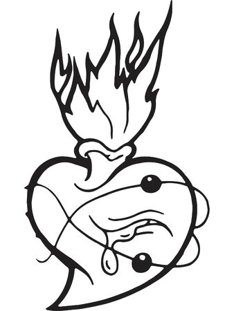 rejection: A black and white version of a bleeding heart and flames