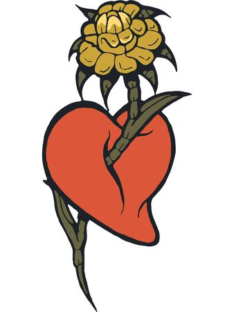 A stencil of a heart with a flower coming through it