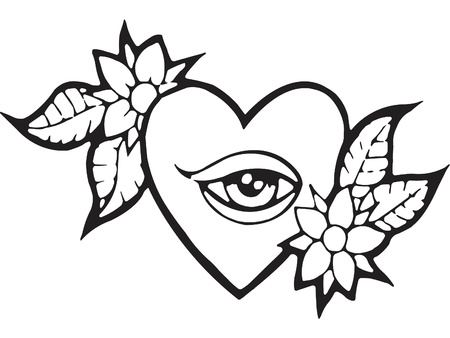 A black and white version of a stencil of a heart with and eye and flowers Stock fotó - 15208148
