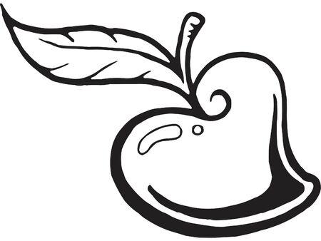 ハート型のりんごの黒と白のバージョン