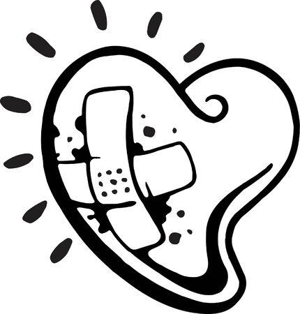 플라스틱 붕대가있는 출혈하는 심장의 흑백 버전 스톡 콘텐츠