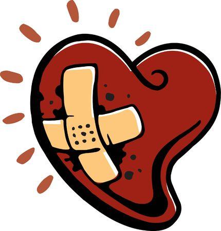A bleeding heart with a plastic bandage on it  Фото со стока