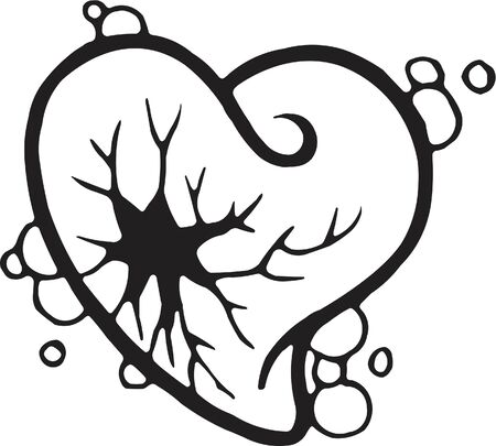 Una versione in bianco e nero di uno stencil di un cuore infranto Archivio Fotografico - 15208006
