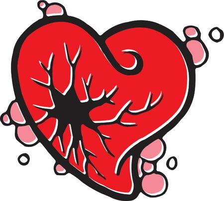 부서진 심장의 스텐실 스톡 콘텐츠