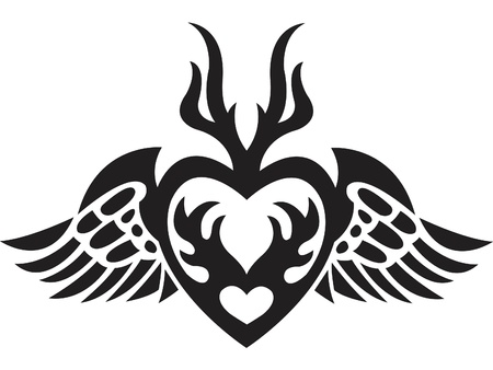 A black and white version of a stencil of a heart with wings Imagens