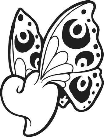 A black and white version of a stencil of a heart with butterfly wings