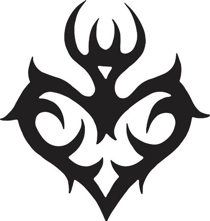 A black and white version of a tribal stencil of a heart Imagens