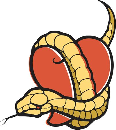 wrapped around: A stencil of a heart with a snake wrapped around it Stock Photo