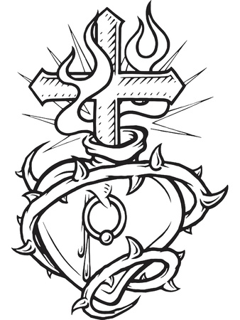 A black and white version of a stencil of a pierced heart surrounded with thorns and a flaming cross in it 版權商用圖片