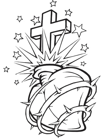 pierced: A black and white version of a stencil of a pierced heart surrounded with thorns and a cross in it Stock Photo