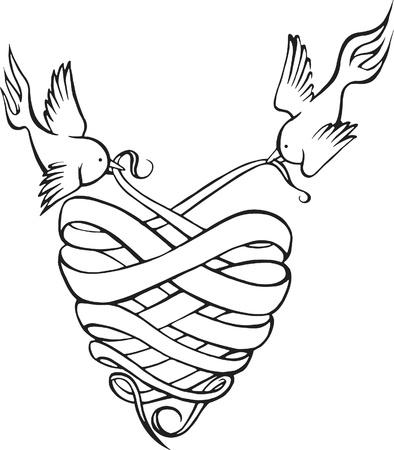 Een zwart-wit versie van twee vogels houden van doek in de vorm van een hart Stockfoto