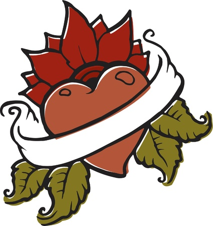 A stencil of a heart with a flower in the background and a blank text banner