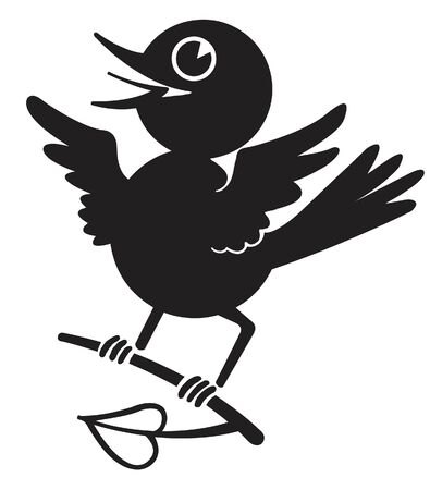 A black and white version of a blue bird on a branch