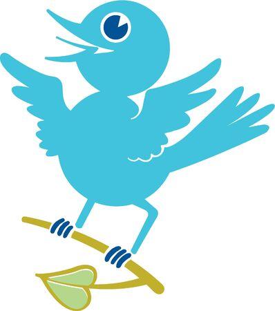 perching: Blue bird perching on branch Stock Photo
