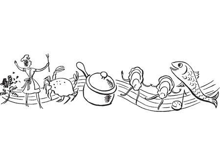 Una versi�n en blanco y negro de un coro de alimentos frescos Foto de archivo - 15208354
