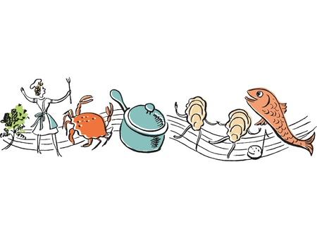 Chorus line of fresh food and chef 免版税图像