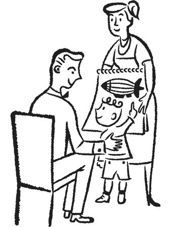 child sitting: A black and white version of a young child showing his father a drawing Stock Photo