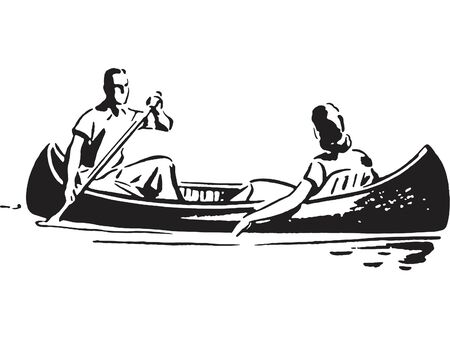 A black and white version of a couple in a canoe Stock Photo
