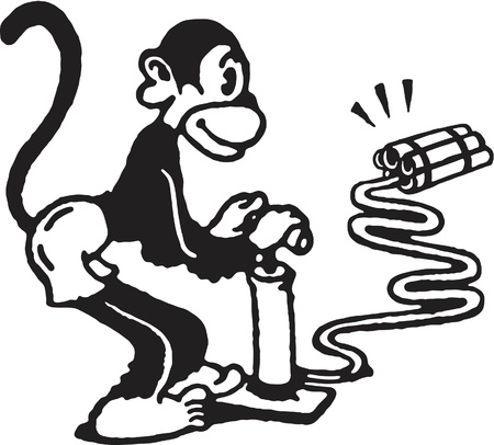 igniting: A black and white version of a monkey igniting dynamite Stock Photo