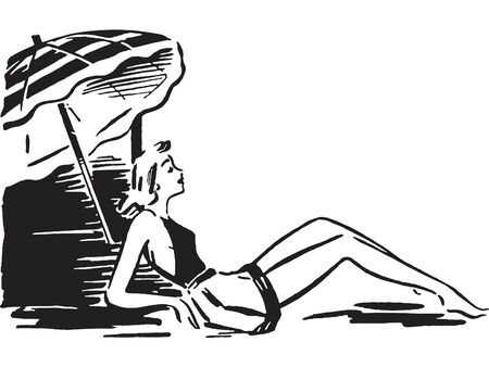 A black and white version of a retro image of a woman sunbathing