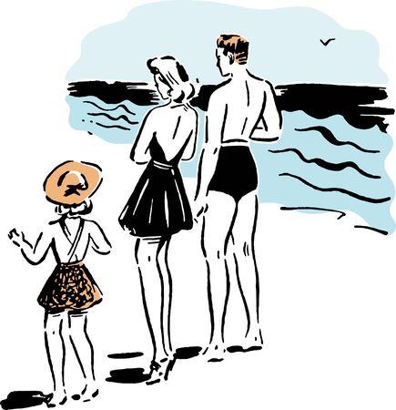 Una familia en la playa Foto de archivo - 15208521